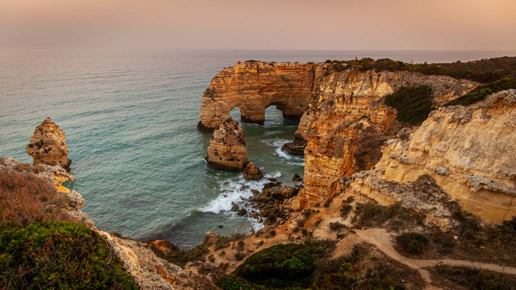 Marinha coastal caves at sunset